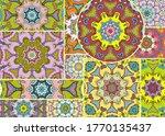 vector patchwork quilt pattern. ...   Shutterstock .eps vector #1770135437