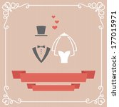 wedding invitation card with... | Shutterstock . vector #177015971