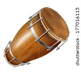 Musical background series. Traditional bungas (drums), isolated on white background. Vector illustration