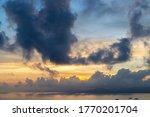 Sunset scenery of Sanya Bay, Sanya City, Hainan Province, China