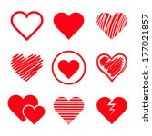 vector hearts set | Shutterstock .eps vector #177021857