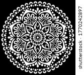 White Mandala On Black Pattern...