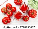 Fresh Tomato Juice And Ripe...