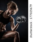 brutal athletic woman pumping... | Shutterstock . vector #177025679