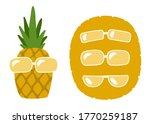 cute funny pineapple in glasses.... | Shutterstock .eps vector #1770259187