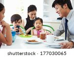 asian family having breakfast... | Shutterstock . vector #177030065