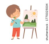 cute boy painting picture on... | Shutterstock .eps vector #1770325034