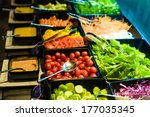 salad bar with vegetables in... | Shutterstock . vector #177035345