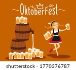 beer waitress in traditional... | Shutterstock .eps vector #1770376787