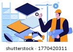 working at construction site... | Shutterstock .eps vector #1770420311