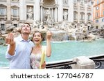 travel couple trowing coin at... | Shutterstock . vector #177046787