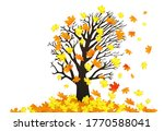 autumn maple tree and fallen... | Shutterstock . vector #1770588041