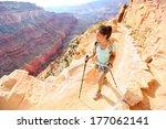 Hiker Woman Hiking In Grand...