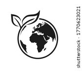 earth with leaf icon  world... | Shutterstock .eps vector #1770623021