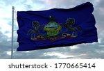 Flag Of Pennsylvania Waving In...
