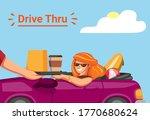 Woman Take Order In Drive Thru...