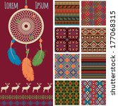 ethnic pattern collections set. bright  dreamcatcher, deer, borders and seamless pattern in bright red indians style isolated on white background. colorful vector illustration.