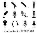microphone icons set | Shutterstock .eps vector #177071981