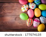 Easter Eggs On Wooden...