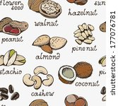 Seamless pattern from nuts - stock vector