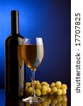 a glass of white wine and a bottle and grape - stock photo