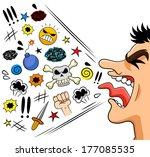cartoon man shouting curses | Shutterstock .eps vector #177085535