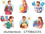 people enjoying shopping set.... | Shutterstock .eps vector #1770862151