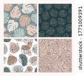 set of tropical monstera leaves ...   Shutterstock .eps vector #1771009391