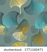 seamless pattern of ginkgo...   Shutterstock .eps vector #1771100471