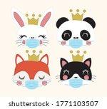 coronavirus quarantined cute... | Shutterstock .eps vector #1771103507