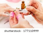 manicure treatment in cosmetic... | Shutterstock . vector #177110999