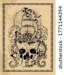 evil skull with crossbones and...   Shutterstock .eps vector #1771144394