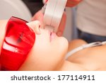 woman upper lip laser epilation | Shutterstock . vector #177114911