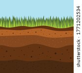 Soil Layers With Green Grass O...