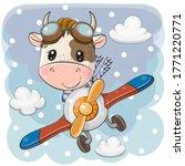 cute cartoon bull is flying on... | Shutterstock .eps vector #1771220771