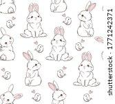 Seamless Pattern Rabbit. Hand...