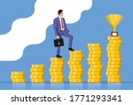 businessman with briefcase goes ... | Shutterstock . vector #1771293341