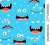 hand drawing monster faces... | Shutterstock .eps vector #1771306001