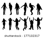 jumping girl silhouettes | Shutterstock .eps vector #177132317