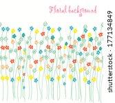 seamless grassy floral  texture.... | Shutterstock .eps vector #177134849