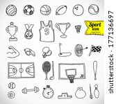 doodle sports icon. vector... | Shutterstock .eps vector #177136697