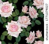Pink Rose Seamless Pattern On...