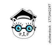 Cat Student With Glasses In A...