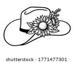 Cowboy Hat With Flowers. Vector ...