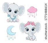 cute baby elephants boy and... | Shutterstock .eps vector #1771488614