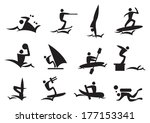 water sports vector icon set  | Shutterstock .eps vector #177153341