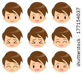 facial expression of the boy | Shutterstock .eps vector #177154037