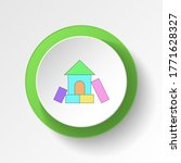 cartoon home toy colored button ...