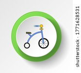 cartoon bike toy colored button ...