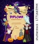 kids diploma with halloween... | Shutterstock .eps vector #1771665944